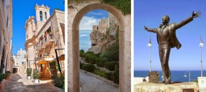 Picturesque alleyways and Domenico Modugno statue in Polignano a Mare